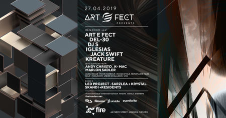 Art e Fect Presents Del-30, Iglesias, Jack Swift, Kreature on April 27, 2019, London, United Kingdom