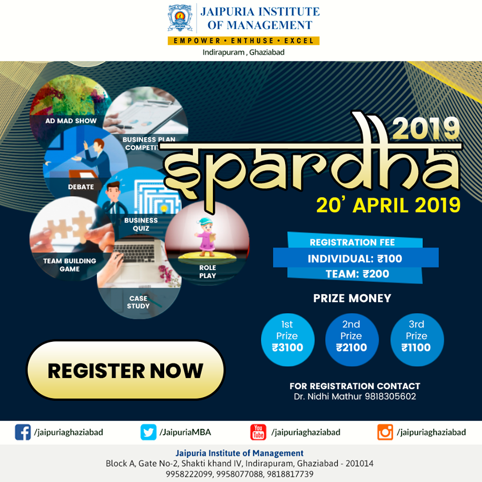 SPARDHA 2019 Inter College Management Fest is to be Organised on April 20,2019, Ghaziabad, Uttar Pradesh, India