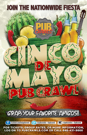 3rd Annual Cinco de Mayo Pub Crawl in New York City - May 2019, New York, United States