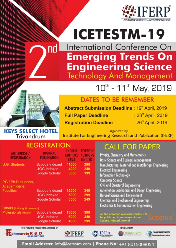 2nd International Conference On Emerging Trends On Engineering Science, Technology And Management, Thiruvananthapuram, Kerala, India