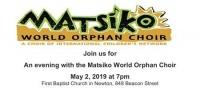 Matsiko World Orphan Choir, May 2 (Thursday), 7 PM
