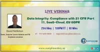 Data Integrity: Compliance with 21 CFR Part 11, SaaS-Cloud, EU GDPR
