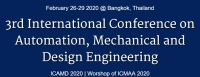 2020 The 3rd Internationalal Conference on Automation, Mechanical and Design Engineering (ICAMD 2020)