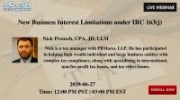 New Business Interest Limitations under IRC 163(j)