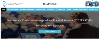 International Conference on Applied and Practical Sciences (ICAPPRSC-19)
