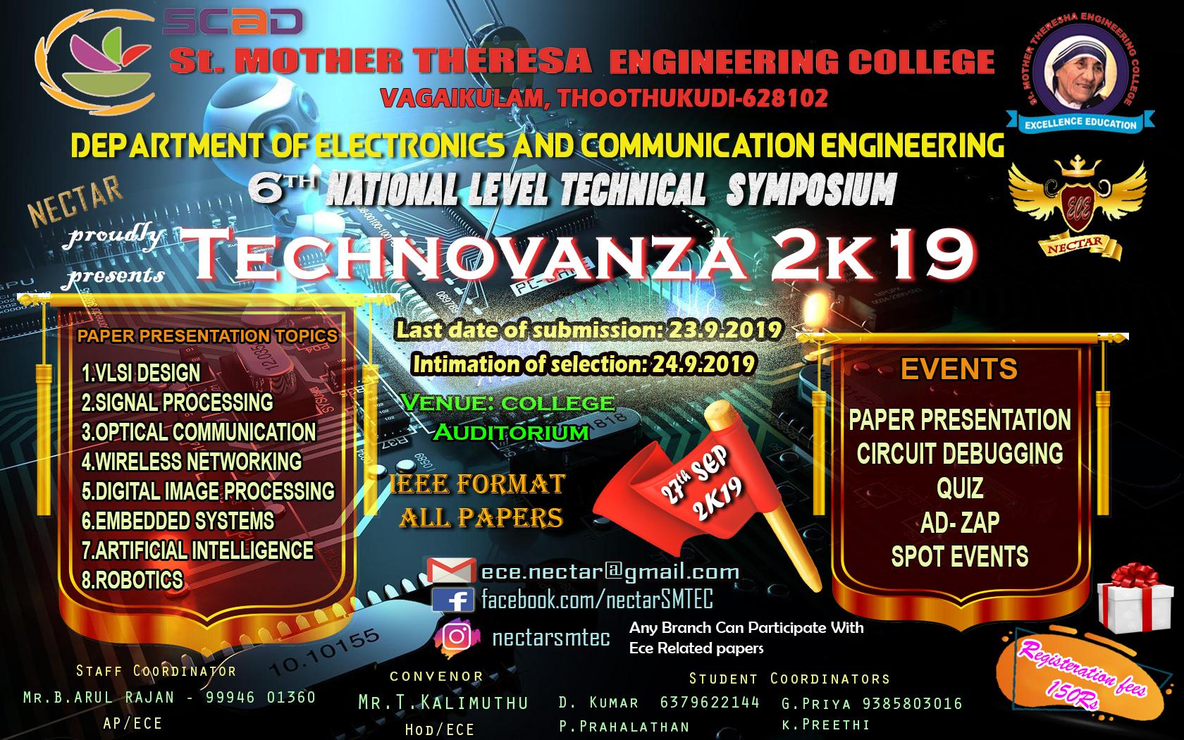 Technovanza 2K19, Thoothukudi, Tamil Nadu, India