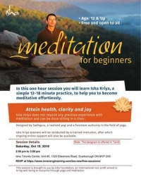 [FREE] Meditation For Beginners on Sat, Oct 19, 2019 at 2 pm, Toronto