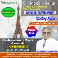 Ayurvedic Consultation in Paris.France-4th Nov to 11th Nov 2019