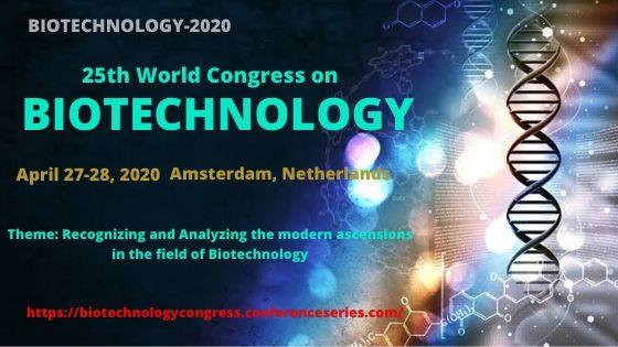 25th World Congress on  Biotechnology, Amsterdam, Netherlands