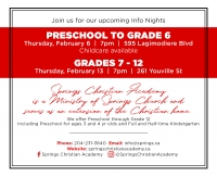 Info Nights in Springs Christian Academy