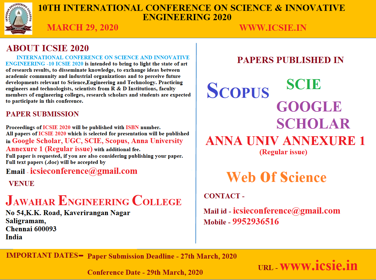 10TH INTERNATIONAL CONFERENCE ON SCIENCE AND INNOVATIVE ENGINEERING -10 ICSIE 2020, Chennai, Tamil Nadu, India