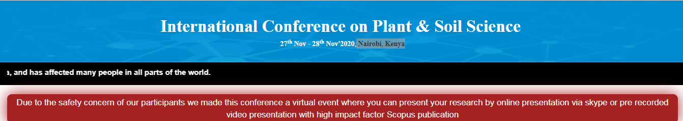 International Conference on Plant & Soil Science(ICPSS-20), Nairobi, Kenya