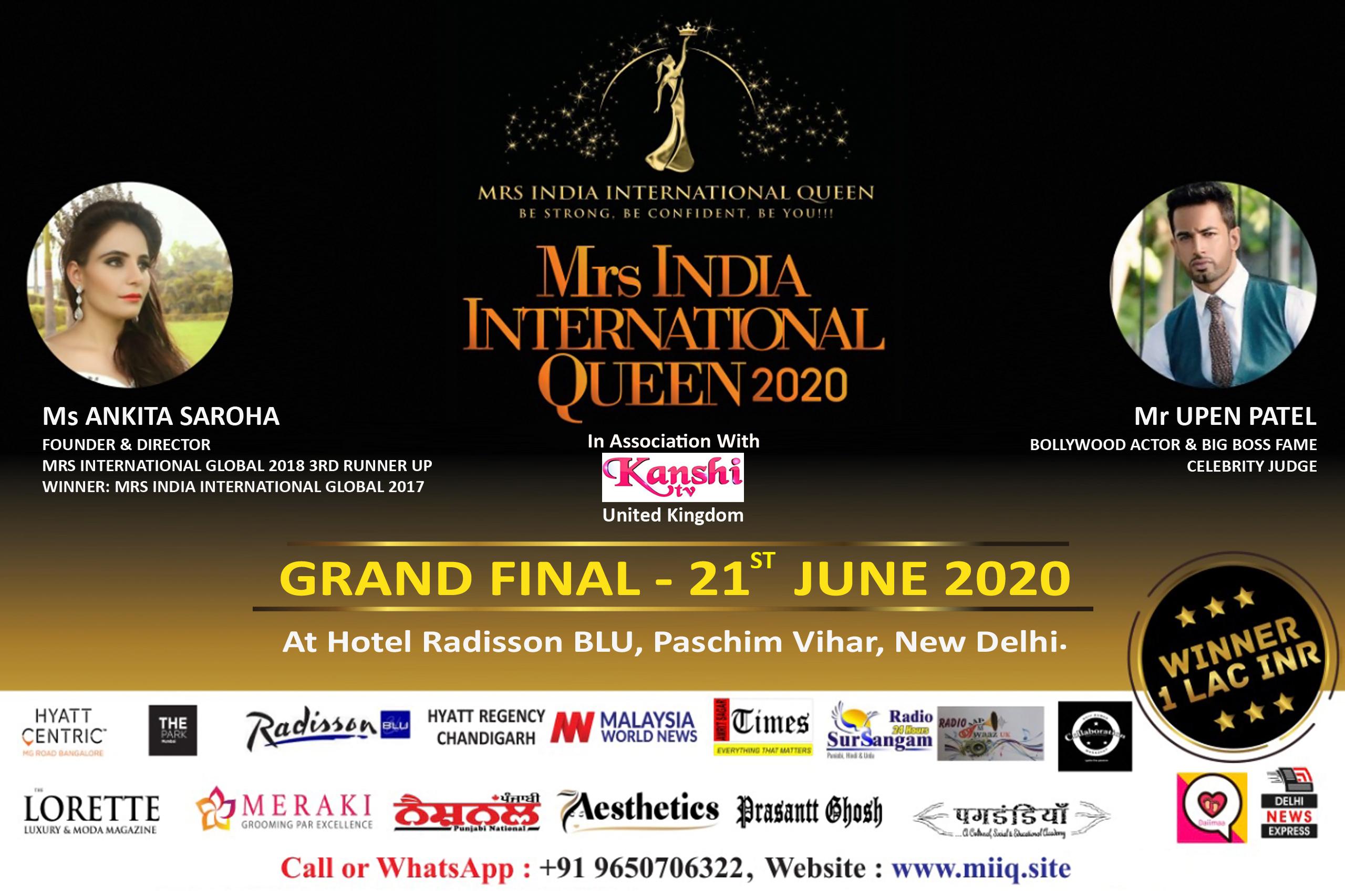 MRS INDIA INTERNATIONAL QUEEN 2020 GRAND FINAL, West Delhi, Delhi, India