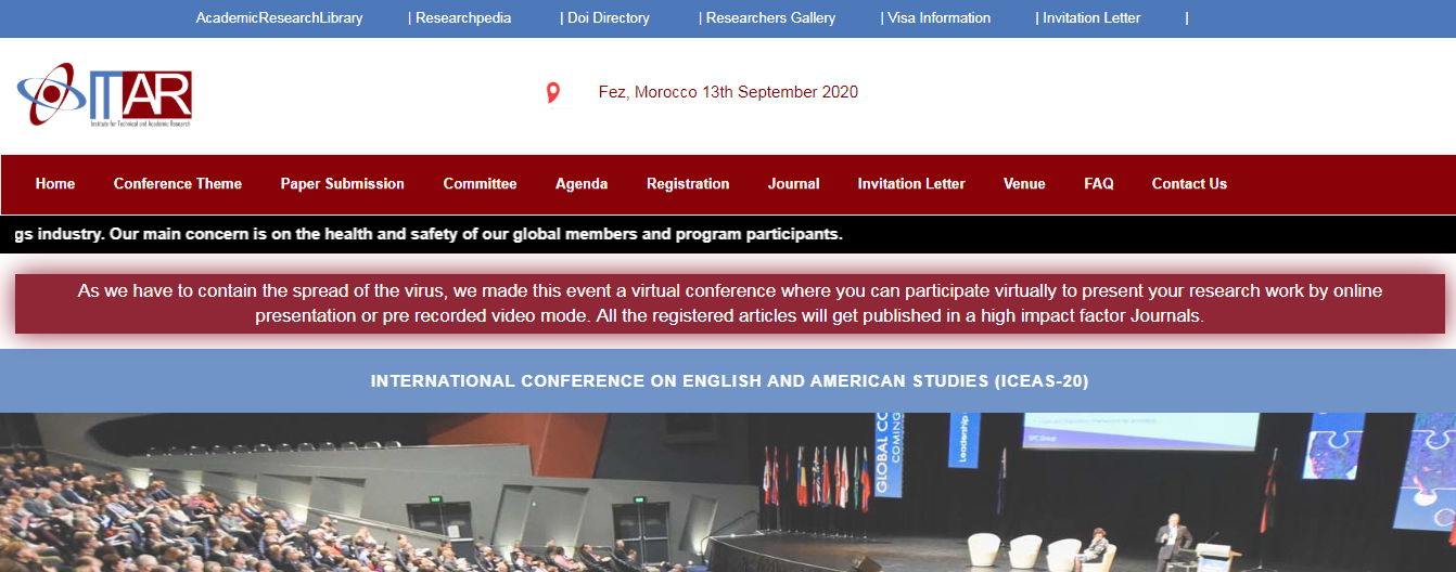 International Conference on English and American Studies (ICEAS-20), Fez, Morocco