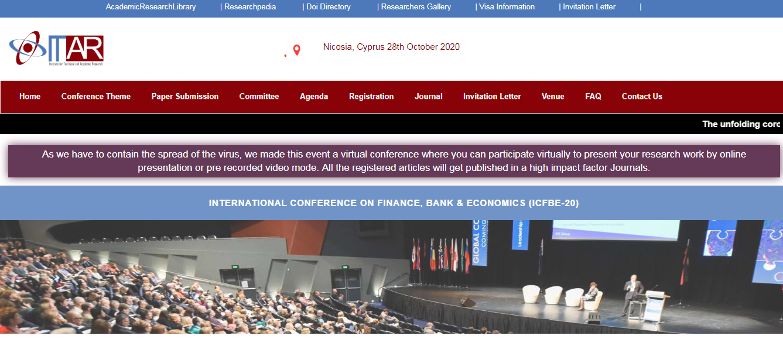 International Conference on Finance, Bank & Economics (ICFBE-20), Nicosia, Cyprus