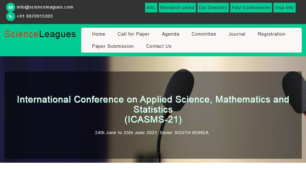 International Conference on Applied Science, Mathematics and Statistics, Seoul, south Korea,Seoul,South korea