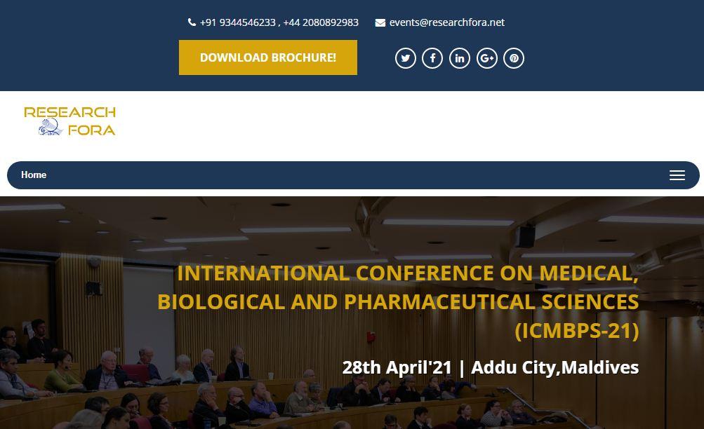 INTERNATIONAL CONFERENCE ON MEDICAL, BIOLOGICAL AND PHARMACEUTICAL SCIENCES, Addu City, Maldives, Maldives