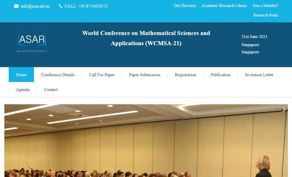 World Conference on Mathematical Sciences and Applications, Singapore