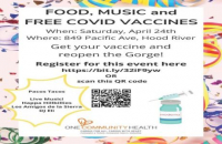 One Community Health COVID-19 Vaccine Party, Saturday April 24, in Hood River
