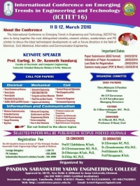 International Conference on Emerging Trends in Engineering and Technology (ICETET 16)