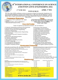 6th International Conference On Science And Innovative Engineering 2016 (6 ICSIE 2016)