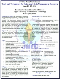 5th One Week Workshop on  Tools and Techniques for Data Analysis in Management Research