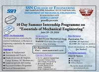 Summer Internship Workshop on Essentials of Mechanical Engineering