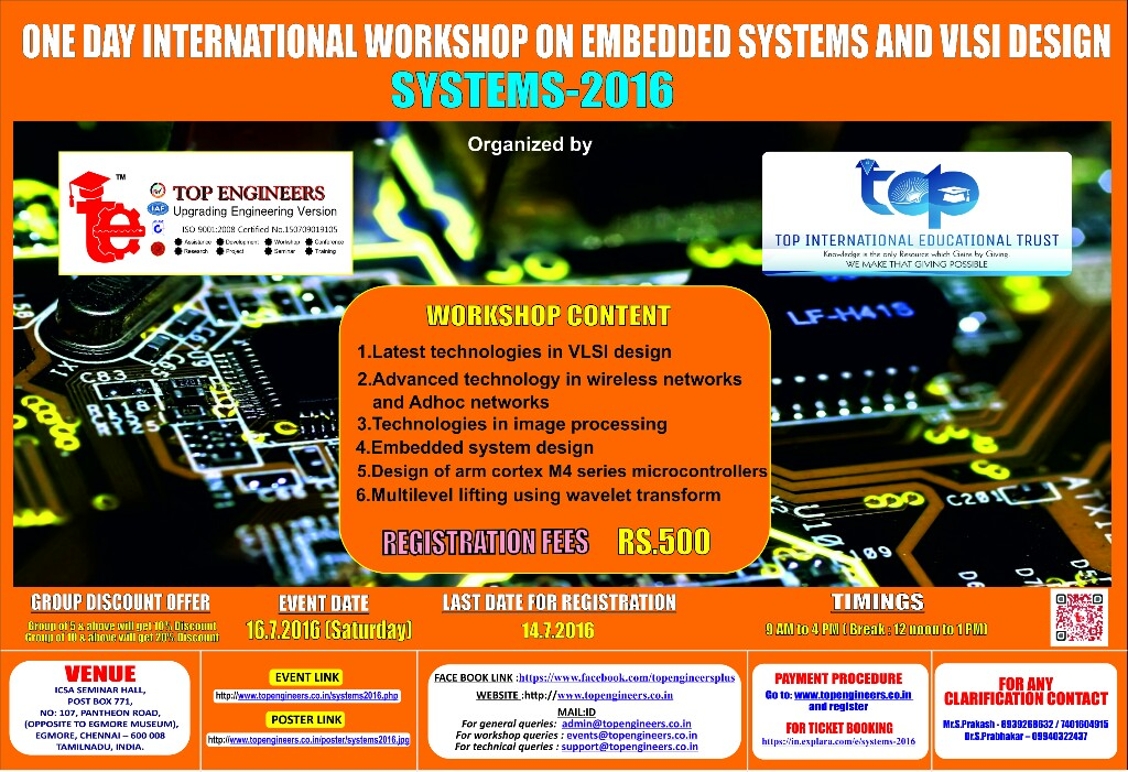 One Day International Workshop On Embedded Systems And Vlsi Design Systems 2016