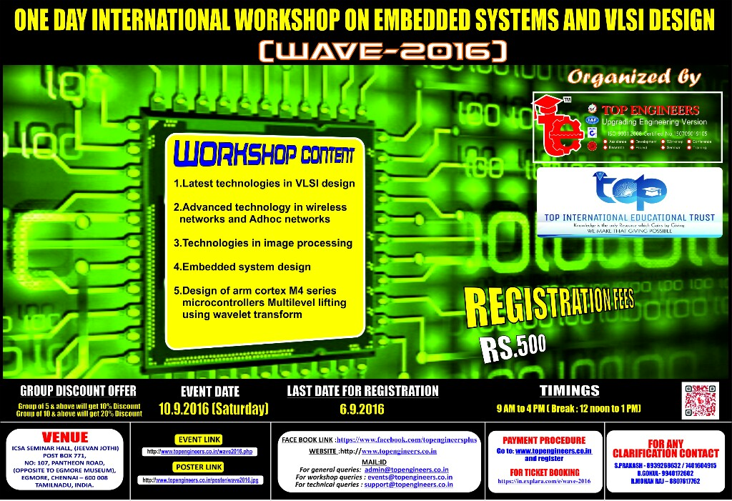 Wave 2016 One Day International Workshop On Embedded Systems And Vlsi Design