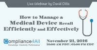 Training by Compliance4all on How to Manage a Medical Device Recall
