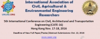 5th International Conference on Civil, Architectural and Transportation Engineering (CATE-16)